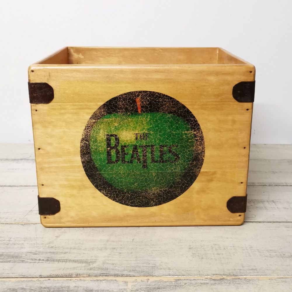 "The Apple 12"" Record Box LP Vintage Wooden Crate"